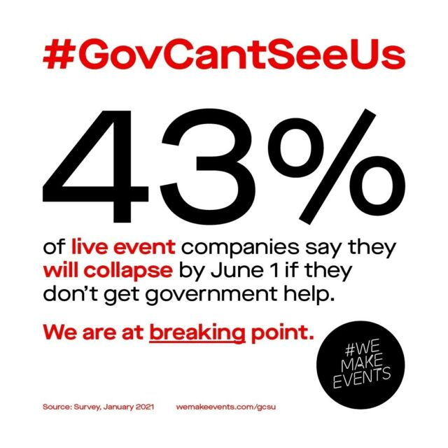 The Government can't see us, can you?⁠ ⁠ Please get involved and show your support for the We Make Events Campaign #GovCantSeeUs ⁠ ⁠ #WeMakeEvents #EventProfs #LiveEventsIndustry #WeAreViable ⁠