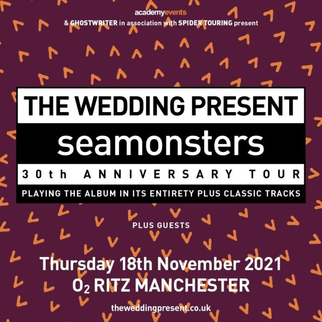 THE WEDDING PRESENT - SEAMONSTERS 30TH ANNIVERSARY SHOW  @weddingpresent commemorate the 30th anniversary of their Steve Albini produced masterpiece 'Seamonsters' with a new live appraisal of the album at @o2ritzmanc on November 18th 2021.   🎟 On sale now >> https://bit.ly/2POdRgF