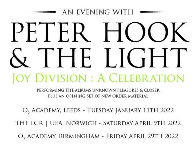 """ON SALE NOW 📣 Celebrating over four decades @officialjoydivision & Ian Curtis' continuing influence, a new concert for @peterhook_thelight """"Joy Division : A Celebration"""" with each evening starting with an opening set of New Order material. 🚀 - 🗓️ Saturday 9th April 2022 at @officiallcr , UEA - Norwich. 🎟️ NORWICH TICKETS: https://bit.ly/2XsTuJO - 🗓️ Friday April 29th 2022 at the @o2academybham . 🎟️ BIRMINGHAM TICKETS: https://bit.ly/3tIXQIF"""