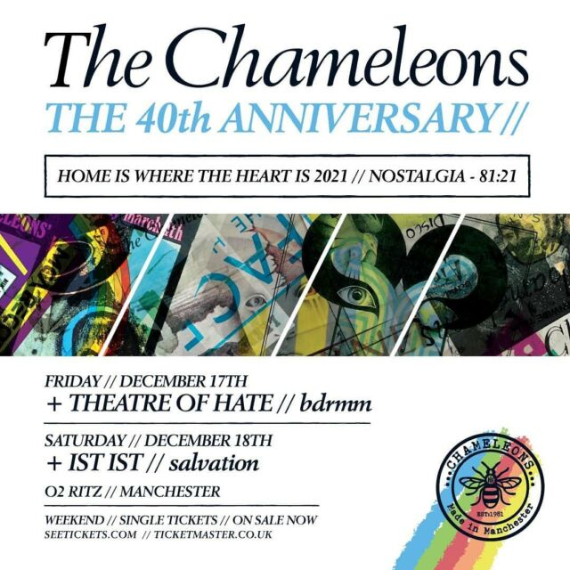 We cannot wait to welcome The ChameleonsVox to O2 Ritz Manchester for a double header of shows including support from Theatre Of Hate, bdrmm, IST IST and Salvation! Get your tickets HERE 🎟️ https://bit.ly/3FG71Pz